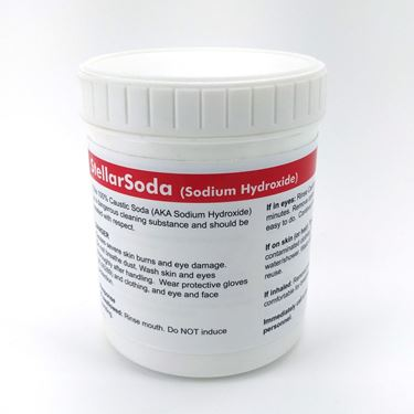 Picture of StellarSoda - 100% Caustic Soda - Sodium Hydroxide (1kg 35oz)(in Bucket with 10g Scoop)