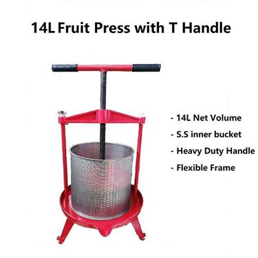 Picture of Heavy Duty 14L Stainless steel Bucket Fruit Press with T Handle