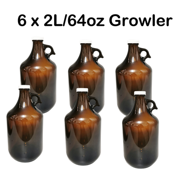 Picture of 6x2L(64OZ) Amber Beer Growler in a Box